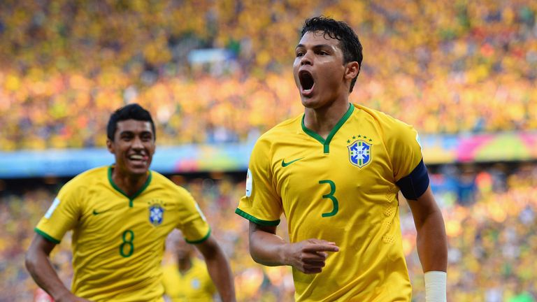Thiago Silva: Celebrates his opening goal for Brazil