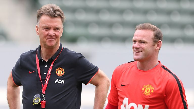 Louis van Gaal and Wayne Rooney during training this week