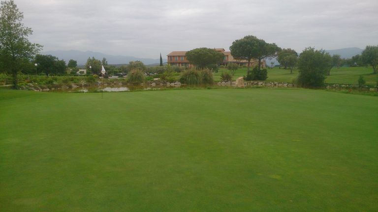 The 9th green looking towards the Hotel Peralada