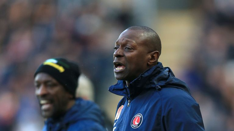 Alex Dyer (right) with former Charlton manager Chris Powell