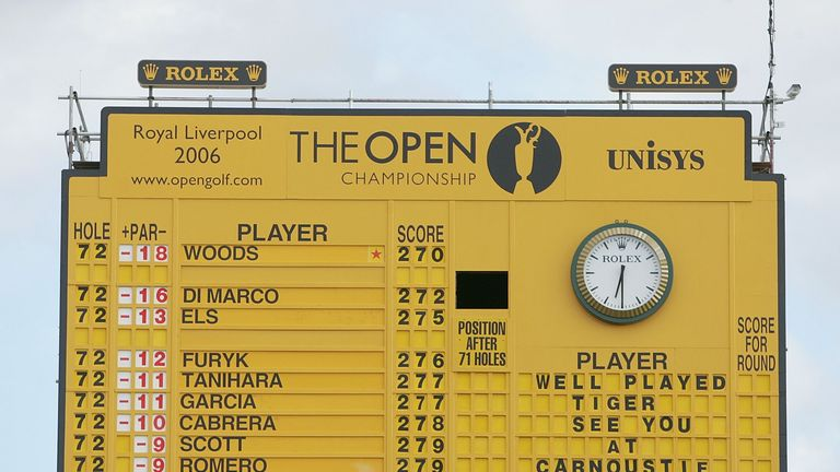 The final scoreboard at Hoylake in 2006