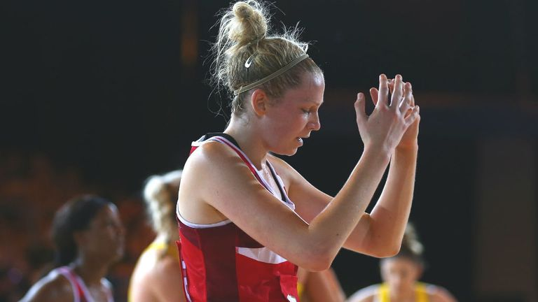Joanne Harten: is dejected after England were defeated by Australia during the Pool B netball match