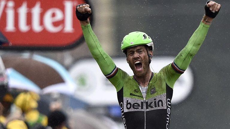 Lars Boom celebrates victory on stage five