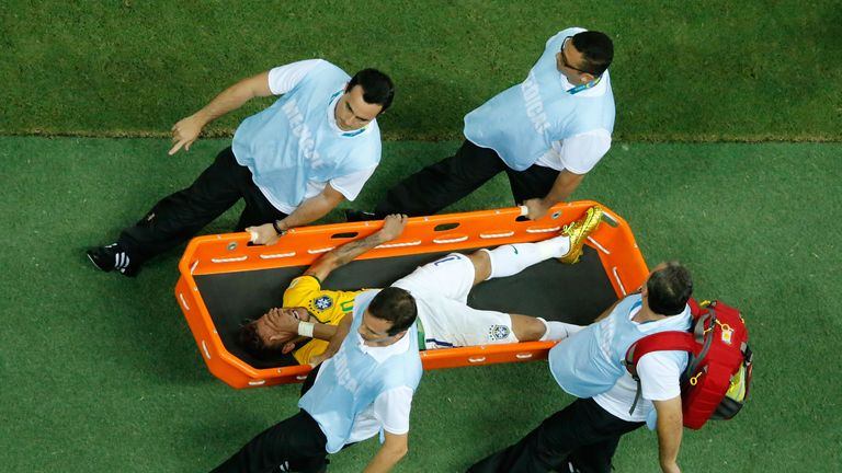 Neymar: Brazil star stretchered off the pitch in World Cup quarter-final
