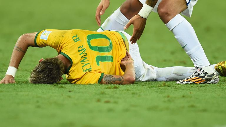 Neymar: Brazil talisman suffered a serious back injury against Colombia