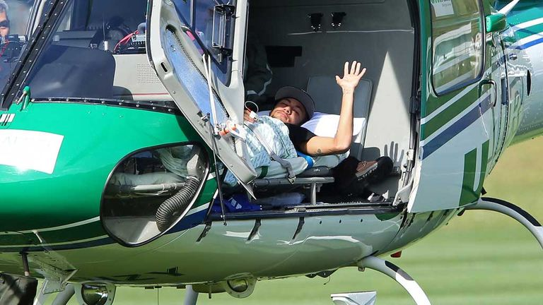 Neymar is airlifted home to continue his recovery