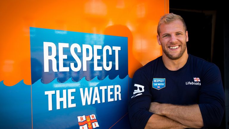 England and Wasps rugby star James Haskell launching the RNLI Respect the Water campaign in Brighton.