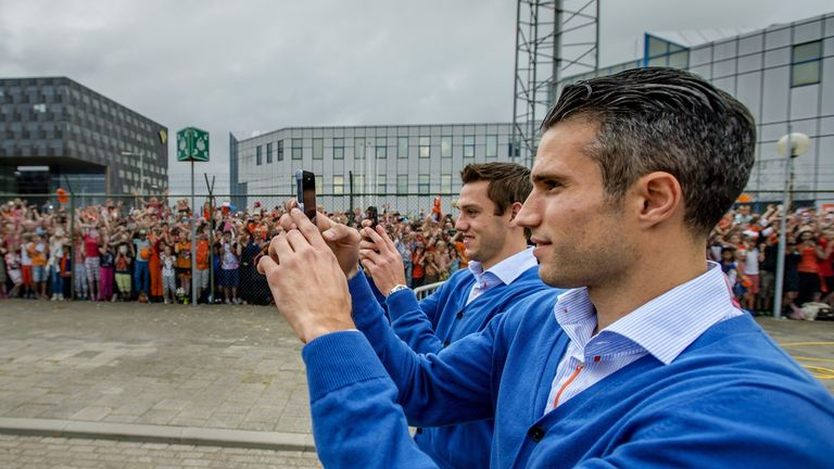 Robin van Persie (r): At Holland's homecoming in Rotterdam