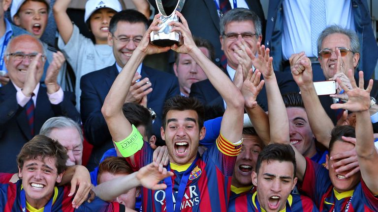 Roger Riera lifted the UEFA Youth League trophy last season