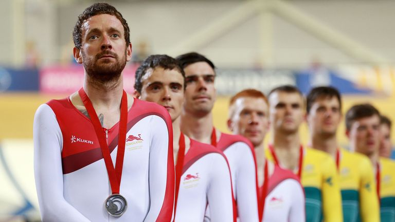 Sir Bradley Wiggins on the Commonwealth podium after receiving a silver medal in the mens 400m Team Pursuit