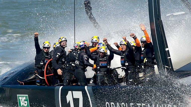 Team Oracle USA celebrate their 2013 America's Cup success
