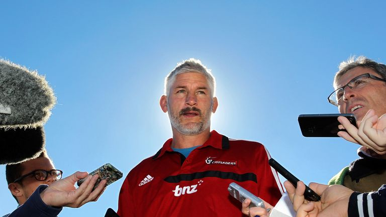Crusaders coach Todd Blackadder speaks to the media after a Crusaders Super Rugby training session at Rugby Park