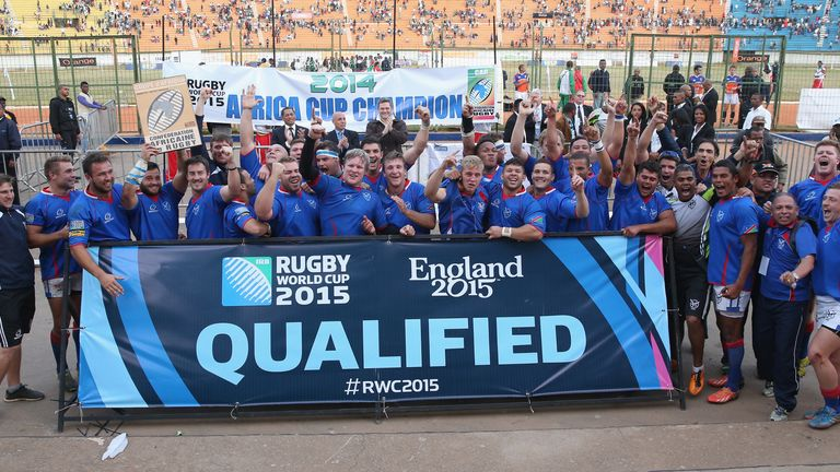 Namibia celebrate the victory over Madagascar which took them to the 2015 Rugby World Cup