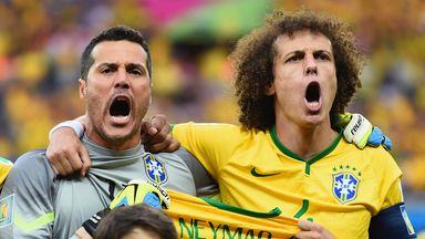Julio Cesar and David Luiz: Stunned by Brazil's loss to Germany