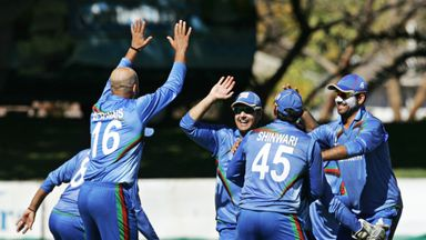 Afghanistan celebrate victory over Zimbabwe in July this year.