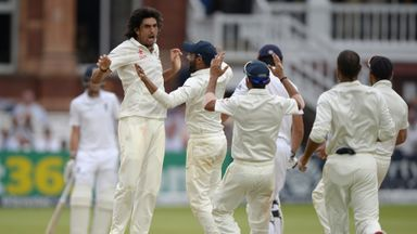 Ishant Sharma celebrates the wicket of Alastair Cook