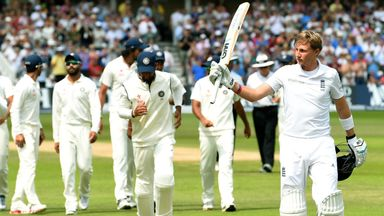 England batsman Joe Root leaves the field unbeaten on 154 on day four