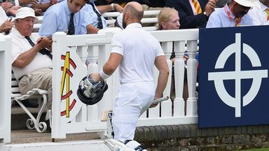 Matt Prior leaves the field at Lord