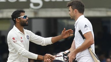 Ravindra Jadeja (l) and James Anderson in happier times at Lord