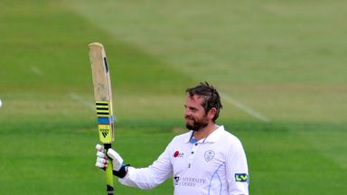 Wes Durston: Celebrates after he reaches his 50 during day one of the tour match between Derbyshire and India