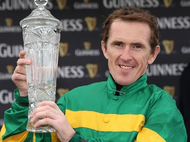 AP McCoy celebrates Thomas Edison's victory in The Guinness Galway Hurdle Handicap on day four of the Galway Festival at Galway Racecourse, Ireland.
