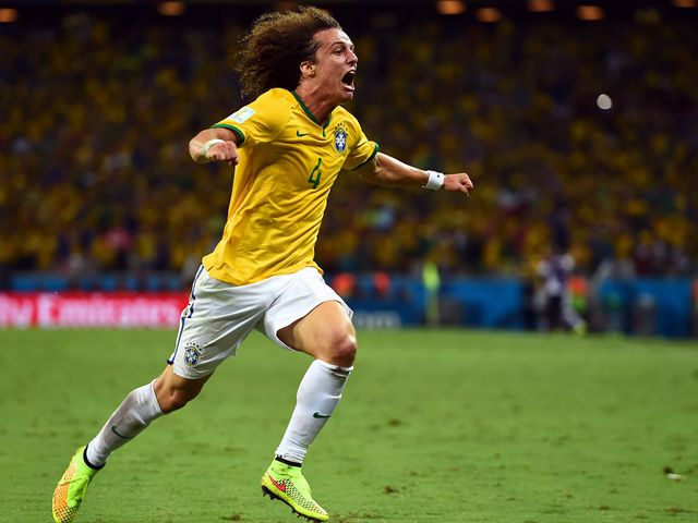 David Luiz celebrates after doubling Brazil's lead in the second half