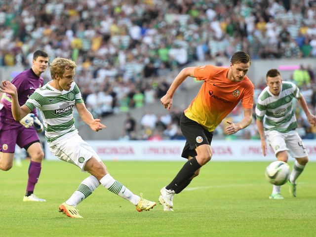 Teemu Pukki slots home Celtic's fourth goal at Murrayfield