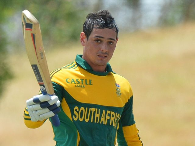 South Africa's Quinton de Kock celebrates his century