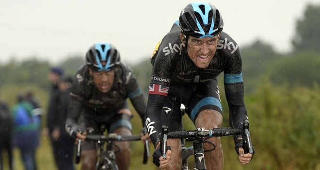 Geraint Thomas, right, shepherds Richie Porte through stage five of the Tour de France