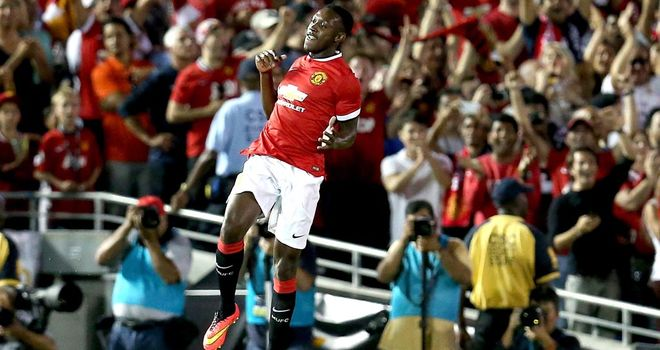Danny Welbeck jumps for joy after scoring Manchester United's opening goal