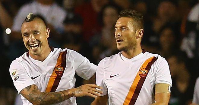 Francesco Totti: Celebrates netting the winner against Real Madrid