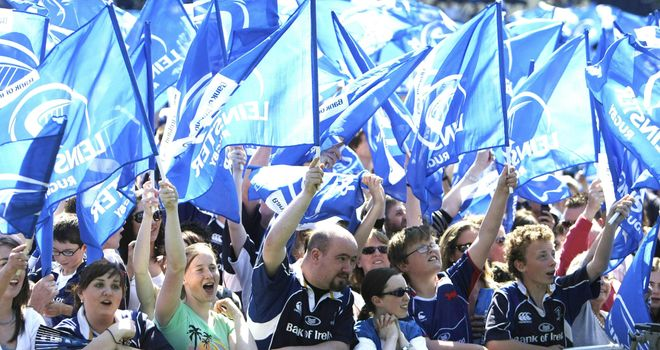 Leinster fans celebrate at the Royal Dublin Society Arena in Dublin