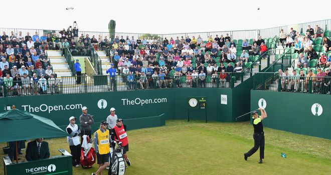David Howell hits the opening tee-shot
