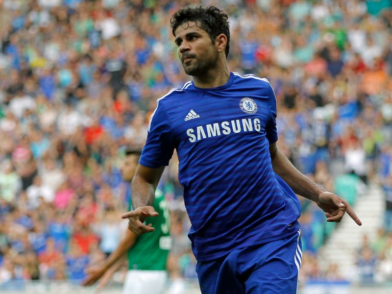 Diego Costa celebrates his first goal for Chelsea