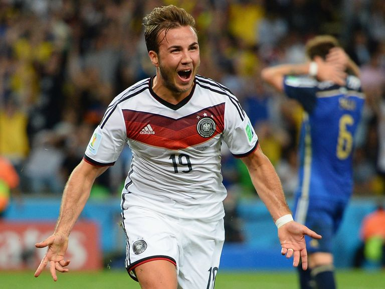 Mario Gotze: celebrates after scoring the World Cup final winning goal