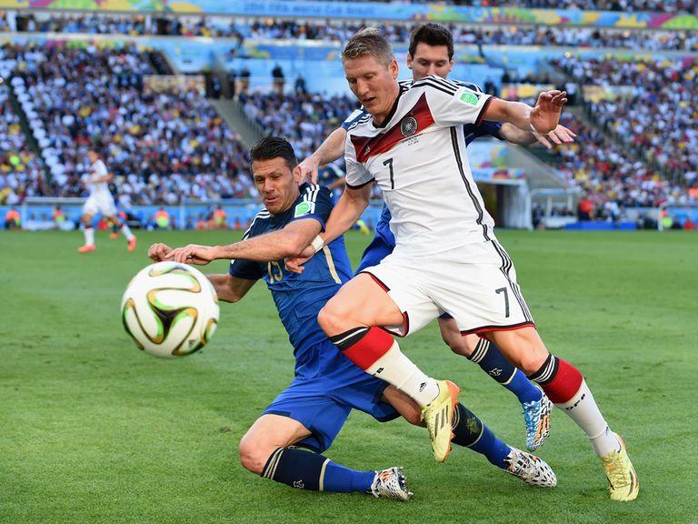 Bastian Schweinsteiger in action during the World Cup final