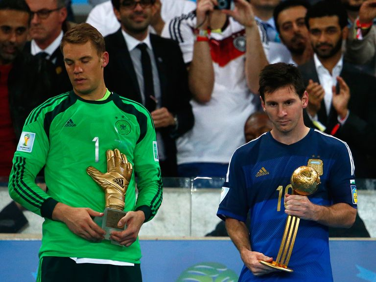 Manuel Neuer and Lionel Messi with their awards