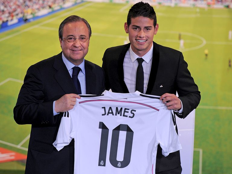 Real Madrid president Florentino Perez greets new signing James Rodriguez