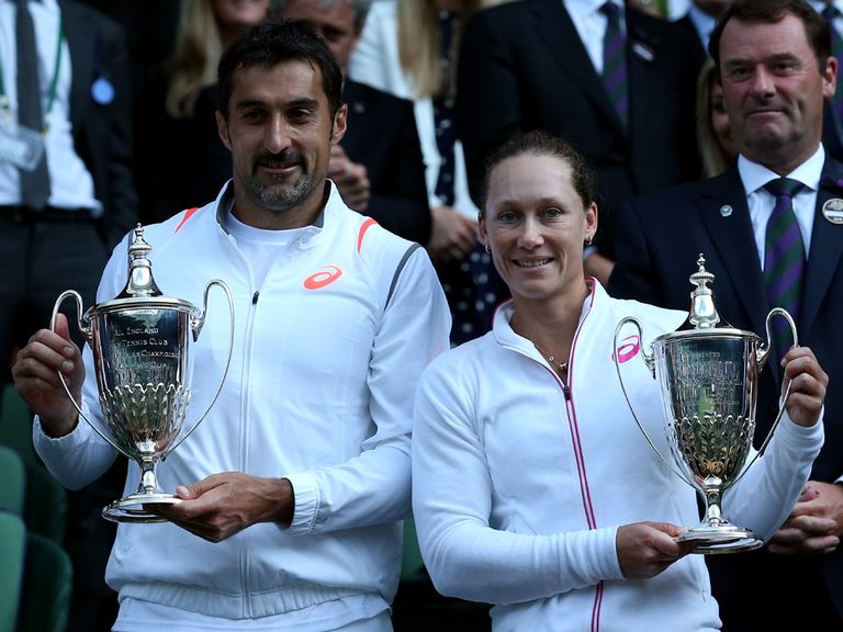 Zimonjic and Stosur celebrate their success