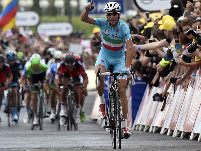 Vincenzo Nibali crosses the line in Sheffield