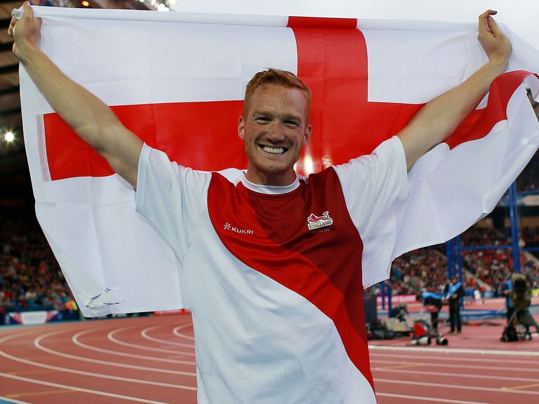 England's Greg Rutherford celebrates winning Commonwealth gold