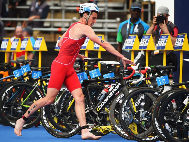 Alistair Brownlee in transition between the swimming and cycling