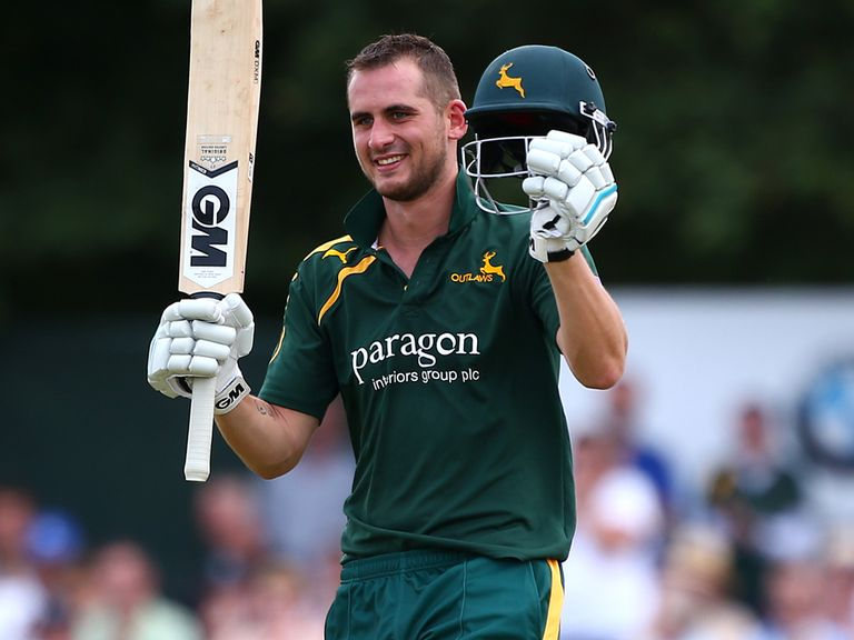 Alex Hales of Nottinghamshire celebrates his century