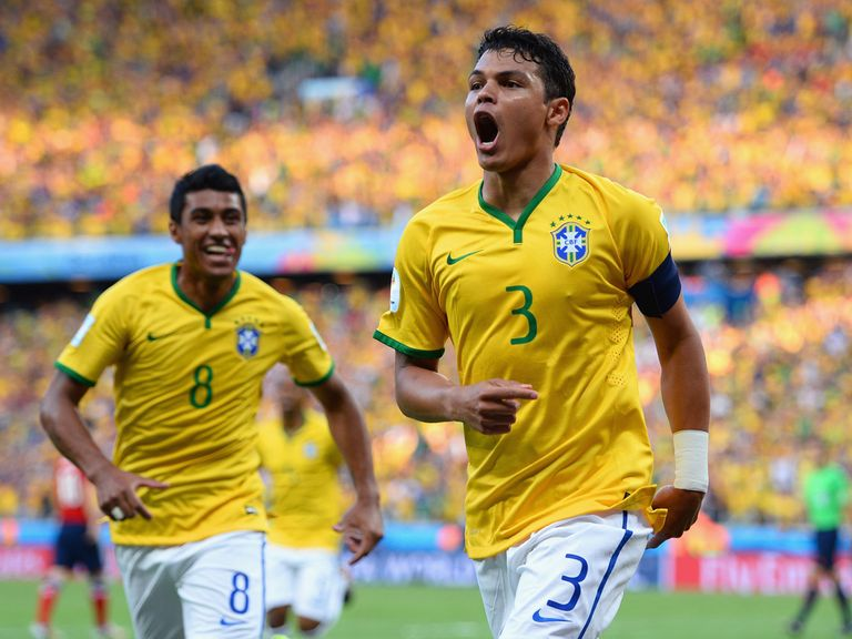 Thiago Silva (right): Set Brazil on their way to victory