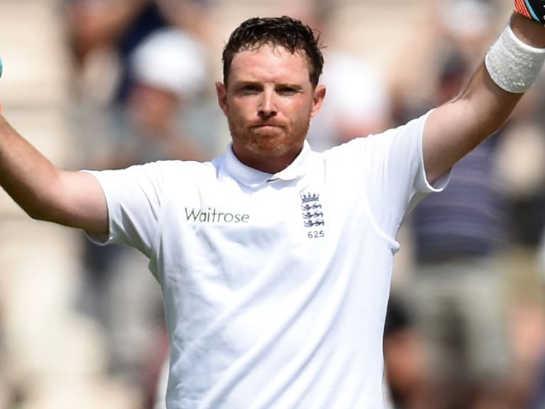 England batsman Ian Bell celebrates his century as Moeen Ali applauds at the Ageas Bowl