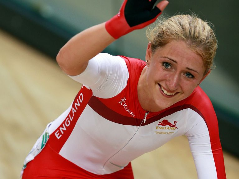 England's Laura Trott celebrates gold in the women's points race