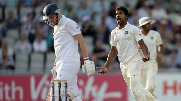 Varun Aaron celebrates getting England batsman Gary Ballance out