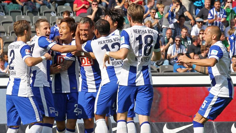 Hertha celebrate Julian Schieber's opening goal