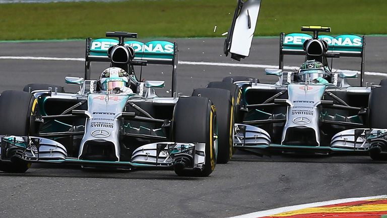 Lewis Hamilton was involved in a collision with Mercedes team-mate Nico Rosberg