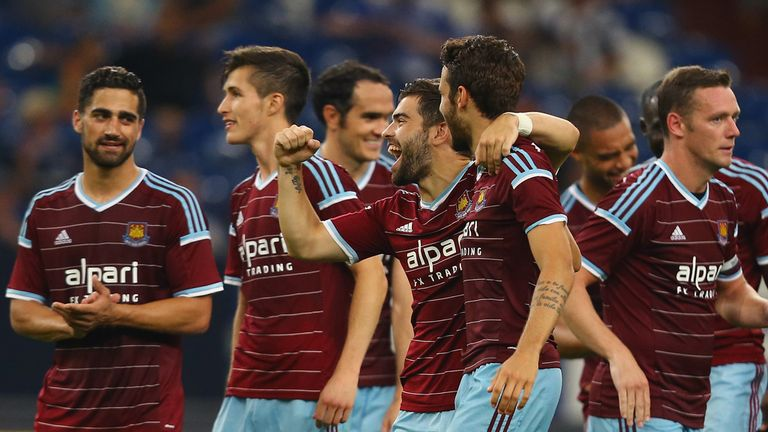West Ham: Celebrating their penalty shoot-out win over Schalke